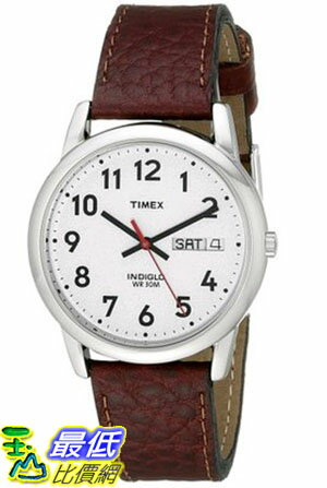 [105美國直購] Timex Easy Reader Day-Date Leather Strap Watch