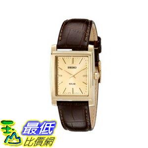 [美國直購] Seiko Men's 男士手錶 SUP896 Gold-Tone and Brown Leather Solar-Power Dress Watch
