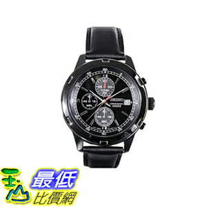 [美國直購] 男士手錶 Seiko Mens Black Leather Strap Chronograph Sport Watch SKS439