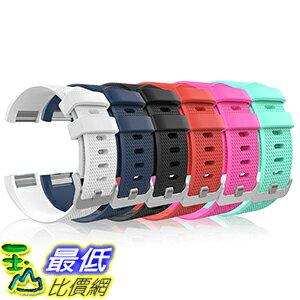 [106美國直購] Fitbit Charge 2 Band, MoKo [6 PACK] Soft Silicone Adjustable Replacement Sport Strap Band for 2016 Fitbit Charge 2 HR Heart Rate Fitness Wristband. 錶帶