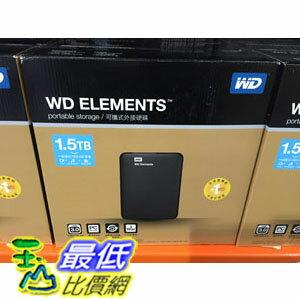 [COSCO代購] WD2.5寸行動硬碟ELEMENIS 1.5TB /USB3.0 WDBU6Y0015BBK-PESN C100759