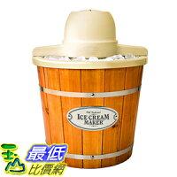 消暑廚房家電到[美國直購] Nostalgia ICMP400WD 復古 木桶造型 冰淇淋機 Vintage Collection 4-Quart Wood Bucket Electric Ice Cream Maker