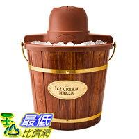 消暑廚房家電到[美國直購] Nostalgia ICMW400 復古 木桶造型 冰淇淋機 Vintage Collection 4-Quart Wood Bucket Electric Ice Cream Maker