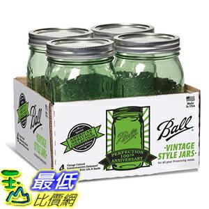 [美國直購] Ball 14400369110 梅森 綠色 WM Quart 寬口徑4入 Jars with Lids and Bands 玻璃罐 玻璃瓶 收納罐