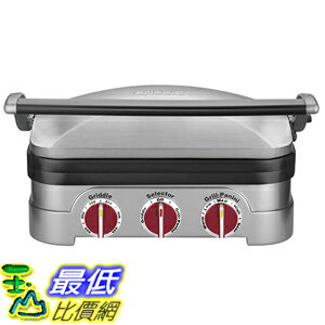 [美國直購] Cuisinart GR-4NR 5-in-1 Griddler, Silver, Red Dials 多功能燒烤器