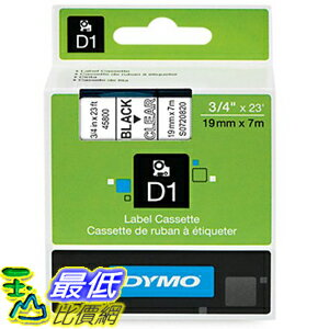 [美國直購] DYMO 45800 D1 Labels, 3/4-Inch x 23-Foot Roll, Black Print on Clear 標籤紙