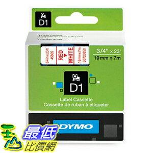 [美國直購] DYMO 45805 D1 Labels, 3/4-Inch x 23-Foot Roll, Red Print on White 標籤紙