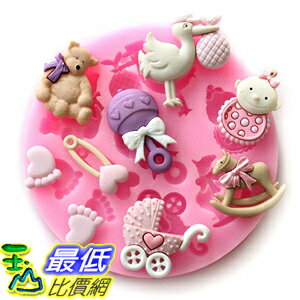 [美國直購] Longzang F484 翻糖 蛋糕 模具 Mini Silicone Sugar, Fondant and Cake Mold, Baby Shower Theme, Pink