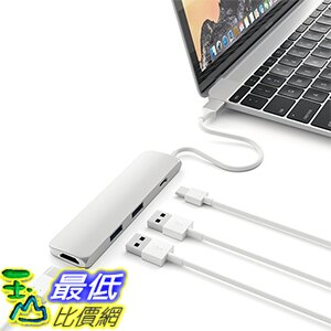 [美國直購] Satechi 灰/銀色 集線器 鋁合金 Type-C 含 4K HDMI (30Hz) Video Output,2 USB 3.0 孔