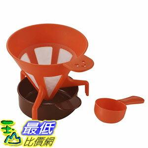 [東京直購] 下村企販 日本製 B00BHRMTE0 咖啡濾杯 付量匙 橘色 送禮 實用 咖啡粉適用 免濾紙