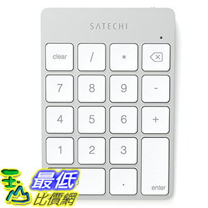 [美國直購] Satechi ST-SALKPS 銀色 數字型 鍵盤 按鍵 Bluetooth 3.0 Slim Rechargeable Aluminum Keypad (Silver)