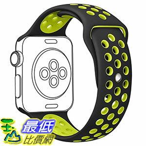 [美國直購] OULUOQI Black / Volt Yellow 錶帶 Apple Watch Band 42mm, Soft Silicone iwatch Band for Apple Watch Nike+,Series 2, Series 1