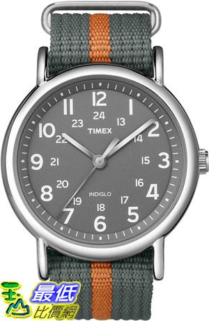 [美國直購 ShopUSA] Timex 中性男女通用錶 T2N649KW Weekender Gray and Orange Slip Through Strap Watch