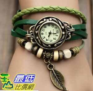 [美國直購 USAShop] Green Quartz Fashion Weave Wrap Around Leather Bracelet Lady Woman Wrist Watch $498