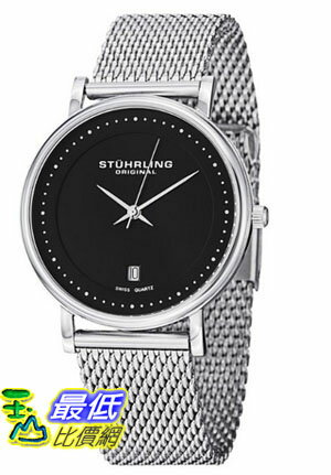 "[美國直購 USAShop] Stuhrling 手錶 Original Men's 734GM.02 Ascot ""Casatorra Elite"" Stainless Steel Mesh Black Dial Watch $2670"