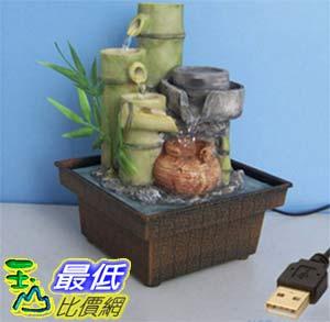 [大陸直寄] 竹子石磨陶罐USB供電迷你小噴泉流水擺飾 dm11