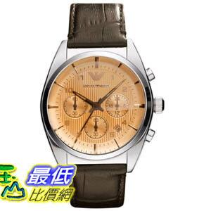 [美國直購 ShopUSA] Emporio Armani 手錶 Men's Classic AR0395 Brown Leather Quartz Watch with Beige Dial #1681885793 _mr