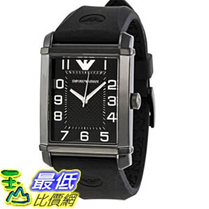 [美國直購 ShopUSA] Emporio Armani Men's Classic AR0499 Black Rubber Quartz 手錶 with Black Dial #1681887339 _mr