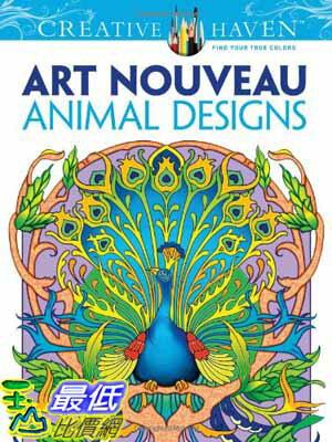 104美國直購  2015 美國暢銷書 Art Nouveau Animal Desig