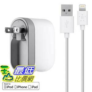 [103美國直購] 美國貝爾金 Belkin USB Swivel Wall Charger with Lightning Cable (2.1 Amp / 10 Watt)家用 充電器 2.1 Amp/10Watt $999