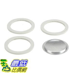 [104美國直購] 摩卡壺 耗材 Bialetti Packaging 3膠圈+不鏽鋼濾網 三杯