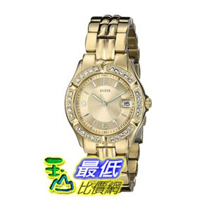 【104美國直購】GUESS Women's U85110L1女士手錶 Dazzling Sporty Mid-Size Gold-Tone Watch $3092