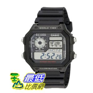 [104美國直購] Casio 男士手錶 Men's AE1200WH-1A World Time Watch