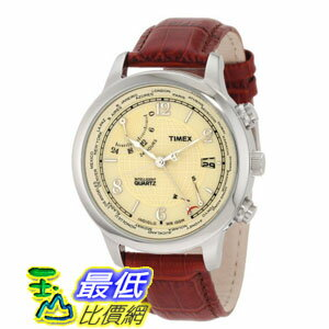 [103 美國直購 ShopUSA] Timex Intelligent 手錶 World Time Beige Dial Brown Leather Strap Mens Watch T2N611