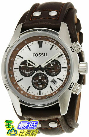 [103 美國直購 ShopUSA] Fossil 手錶 Men's CH2565 Cuff Chronograph Tan Leather Watch  $4378