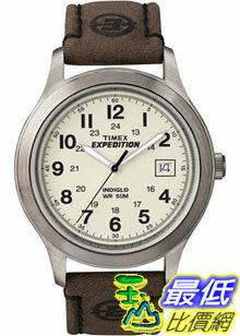 [美國直購 ShopUSA] Timex 手錶 Men's Expedition T49870 Brown Calf Skin Analog Quartz Watch with White Dial