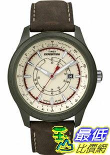 [美國直購 ShopUSA] Timex 手錶 Men's Expedition T49921 Brown Leather Quartz Watch with Yellow Dial
