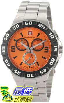 [美國直購 ShopUSA] Swiss Military Calibre 手錶 Men's 06-5R2-04-079 Racer Chronograph Orange Dial Steel Bracelet Watch $6058