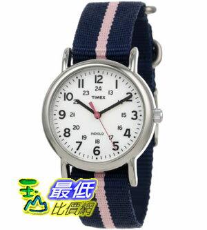 [美國直購禮品暢銷排行榜] Timex 中性男女通用錶  T2P0749J Weekender Blue Pink Stripe Slip Thru Nylon Strap Watch