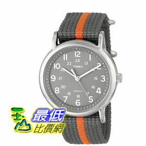 [美國直購 ShopUSA] Timex 中性男女通用錶 Unisex T2N649 Weekender Watch with Gray and Orange Nylon Strap