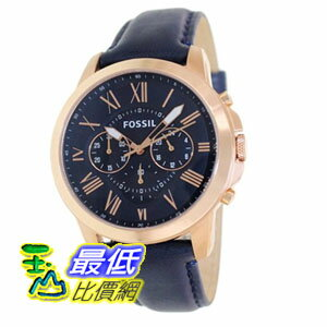 [103 美國直購] 男士手錶 Fossil Men's FS4835 Grant Stainless Steel Watch with Blue Leather Band  $4452