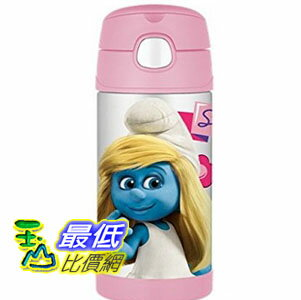 [103美國直購] Thermos 兒童保溫水壺 Smurf Movie Funtainer Beverage Bottle, 12-Ounce, Pink F4013SMTRU6 $1165