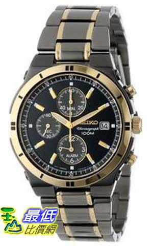 [美國直購 ShopUSA] Seiko 手錶 Men's SNAA30 Alarm Chronograph Black Ion Watch $8649