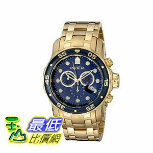 [104美國直購] 手錶  Invicta Men's 0073 Pro Diver Collection Chronograph 18k Gold-Plated Watch