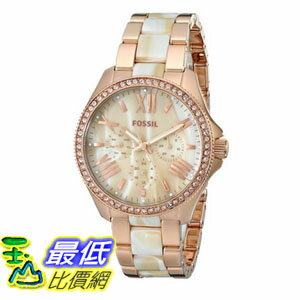 [104美國直購] 手錶  Fossil Women's AM4616 Cecile Three-Hand Stainless Steel Watch Rose with Horn Acetate$8389