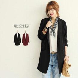 享瘦衣舍中大尺碼韓風時尚長版西裝外套