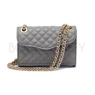 Rebecca Minkoff 經典菱格紋灰色金鏈條迷你包 Quilted Mini Affair Bag