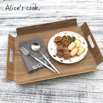 韓式 簡約線條雙耳原木托盤 韓劇 藍色海洋的傳說使用款 木盤 下午茶盤 蛋糕盤