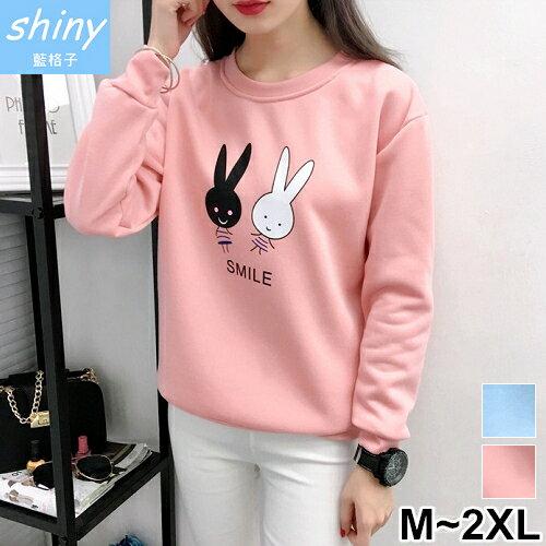 shiny藍格子:【V2119】shiny藍格子-可愛休閒‧卡通兔子寬鬆刷毛長袖上衣