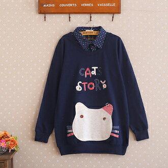 《 任選2件55折》現貨 森系貼佈字母貓咪口袋襯衫領假兩件 (2色,M~2XL) - ORead 自由風格 0