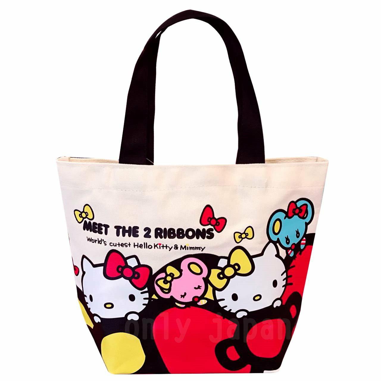 【真愛日本】18042600014 帆布便當袋-KT雙胞胎蝴蝶結 kitty 凱蒂貓 餐袋 便當袋 手提袋 手提包