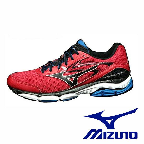 【MIZUNO 5折 │全店免運】MIZUNO 美津濃 男款慢跑鞋 WAVE INSPIRE 12 支撐型 -湛藍紅