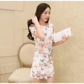 韓版修身短裙雪紡里布蕾絲裙連身裙(圖片色,)-ORead自由風格