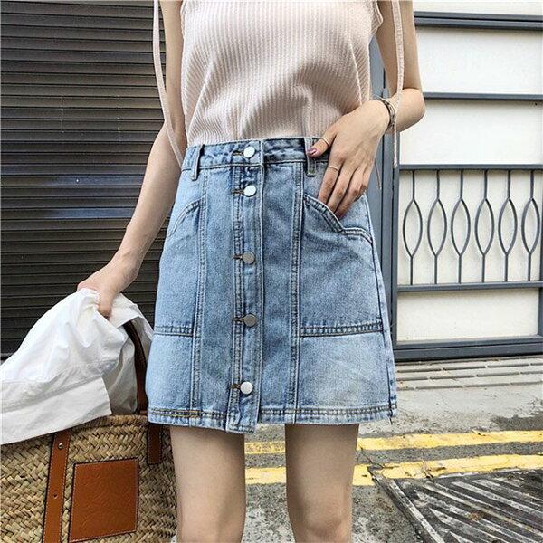 牛仔裙排釦刷白口袋不規則下襬牛仔裙短裙【MY8199】BOBI0705