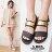 格子舖*【ANW738】MIT台灣製 韓國街頭時尚風 皮革視覺金屬片 魔鬼氈穿拖 一字涼鞋 2色 0