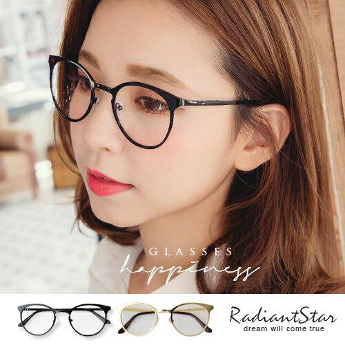 韓國公爵夫人復古貓眼金屬平光眼鏡【G3171】璀璨之星☆